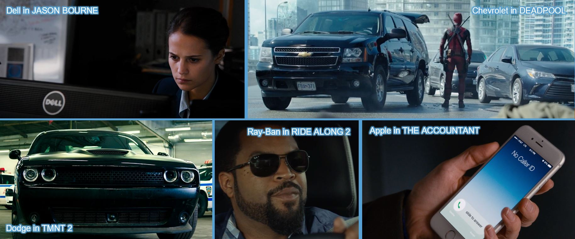 Dell in JASON BOURNE Chevrolet in DEADPOOL Dodge in TMNT 2 teenage Mutant Ninja Turtles: Out of the Shadows Ray-Ban in RIDE ALONG Apple in THE ACCOUNTANT product placement concave brand tracking