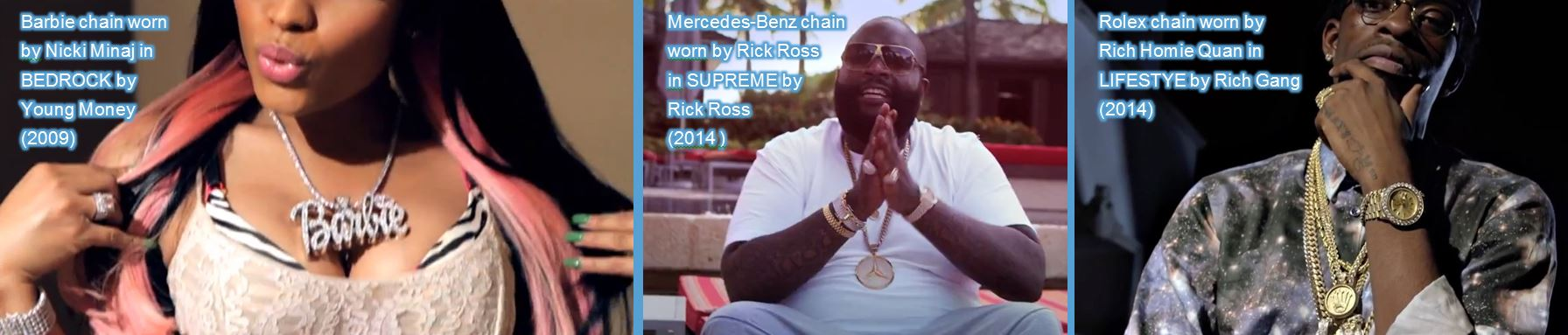 jewelry chain brands in music videos