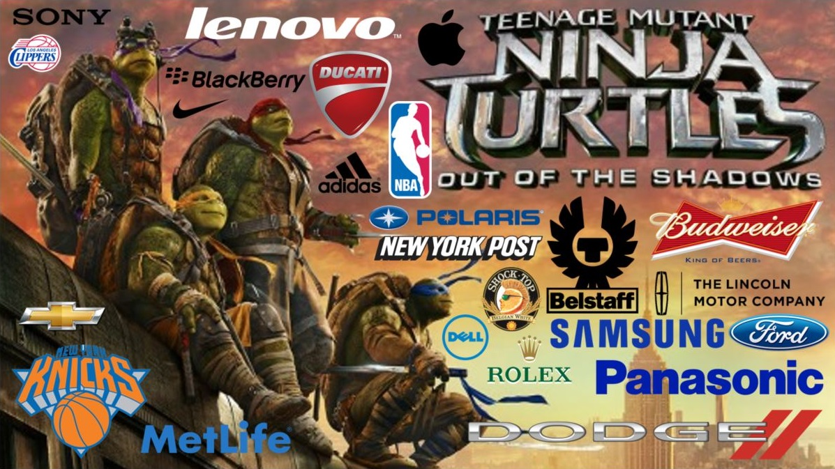 teenage mutant ninja turtles TMNT out of the shadows Brand branding product placement concave brand tracking