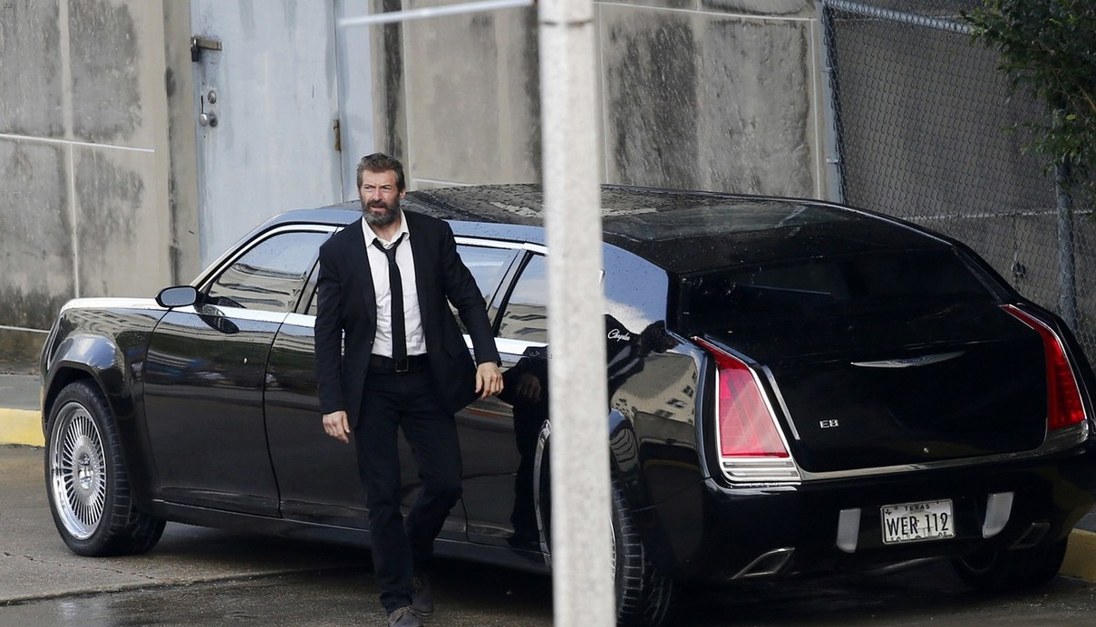 hugh-jackman-beard-wolverine-3-set-photos-12 chrysler limousine product placement in logan wolverine