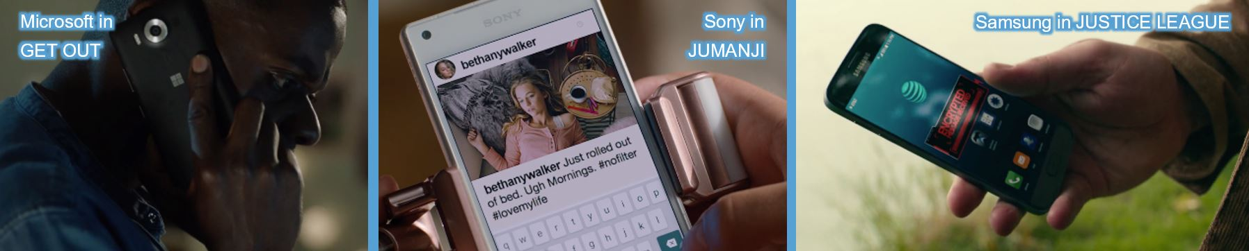 mobile phones product placement product category brand leader concave brand tracking get out microsoft sony jumanji samsung justice league