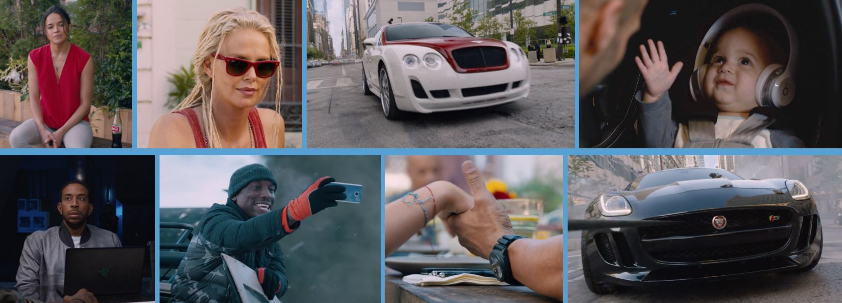 the fate of the furious fast and furious movie product placement concave brand tracking coca cola coke ray-ban bentley beats by dre razer samsung panerai jaguar