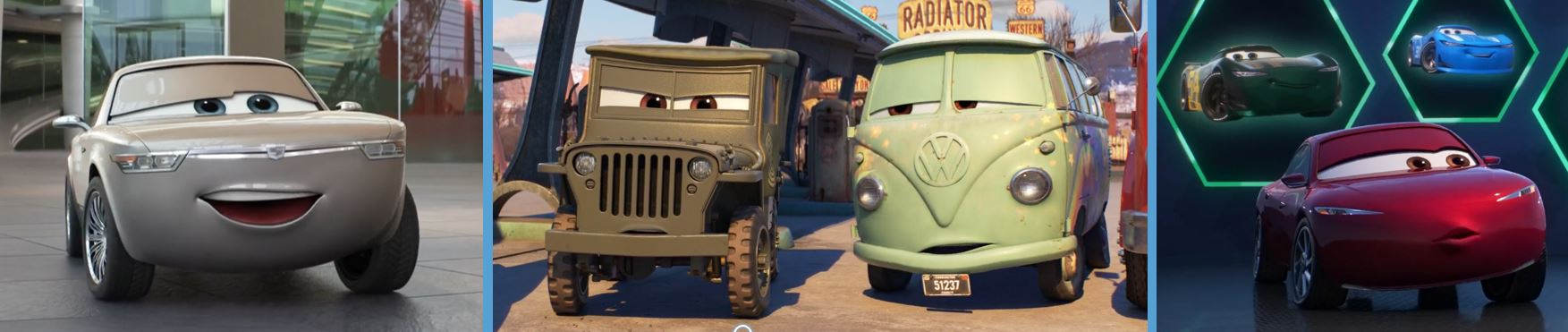 cars 3 product placement concave brand tracking BMW willys volkswagen tesla