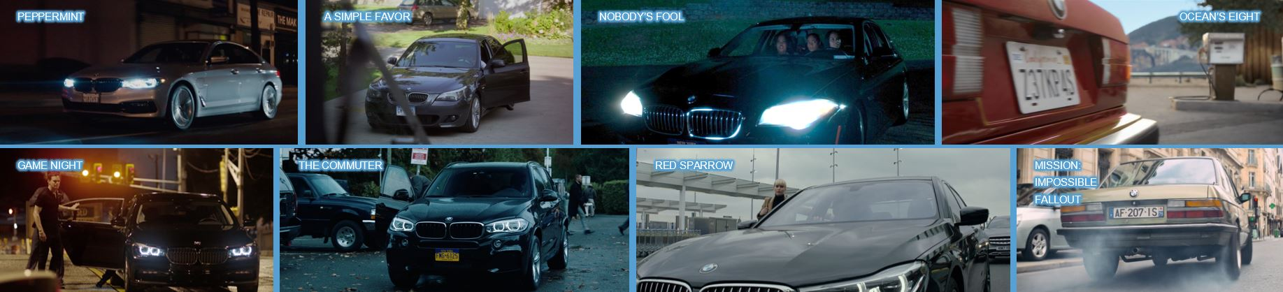 BMW concave brand tracking product placement top 10 brands in 2018 movies branded entertainment brand integration peppermint nobody's fool a simple favour ocean's eight game night the commuter red sparrow mission impossible fallout
