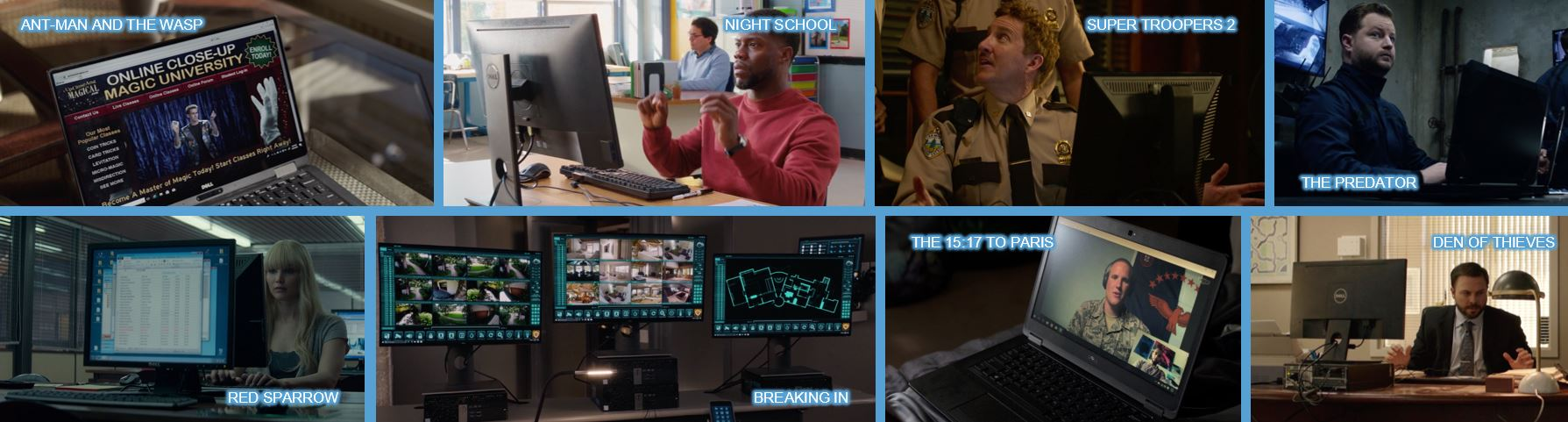 Dell concave brand tracking product placement top 10 brands in 2018 movies branded entertainment brand integration ant-man and the wasp night school super troopers 2 the predator breaking in red sparrow den of thieves the 15 17 to paris