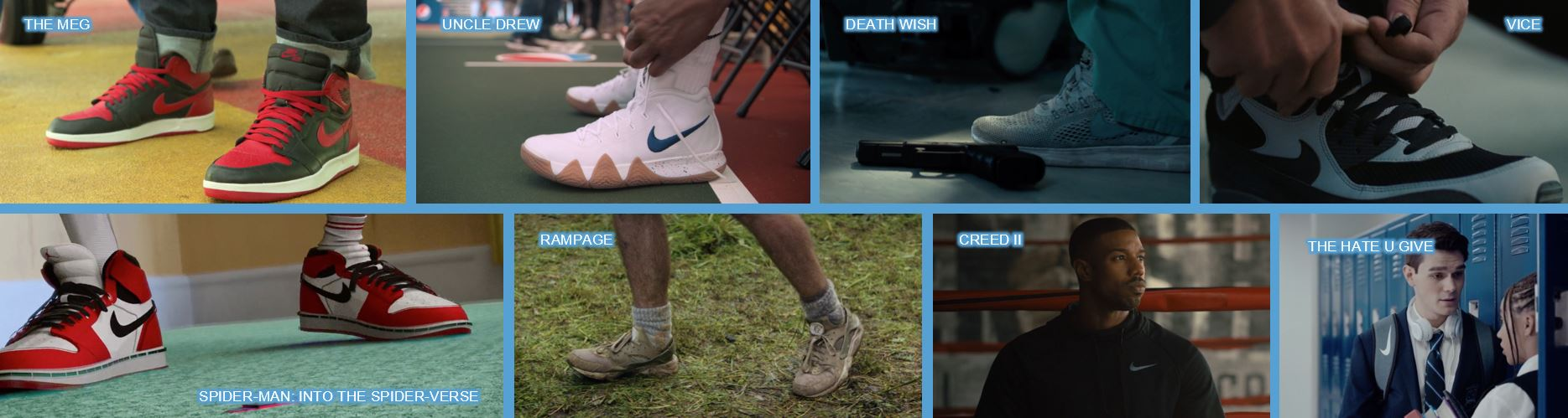 Nike concave brand tracking product placement top 10 brands in 2018 movies branded entertainment brand integration shoes spiderman spider-man into the spiderverse spider-verse the meg uncle drew death wish vice rampage Creed II creed 2 the hate u give