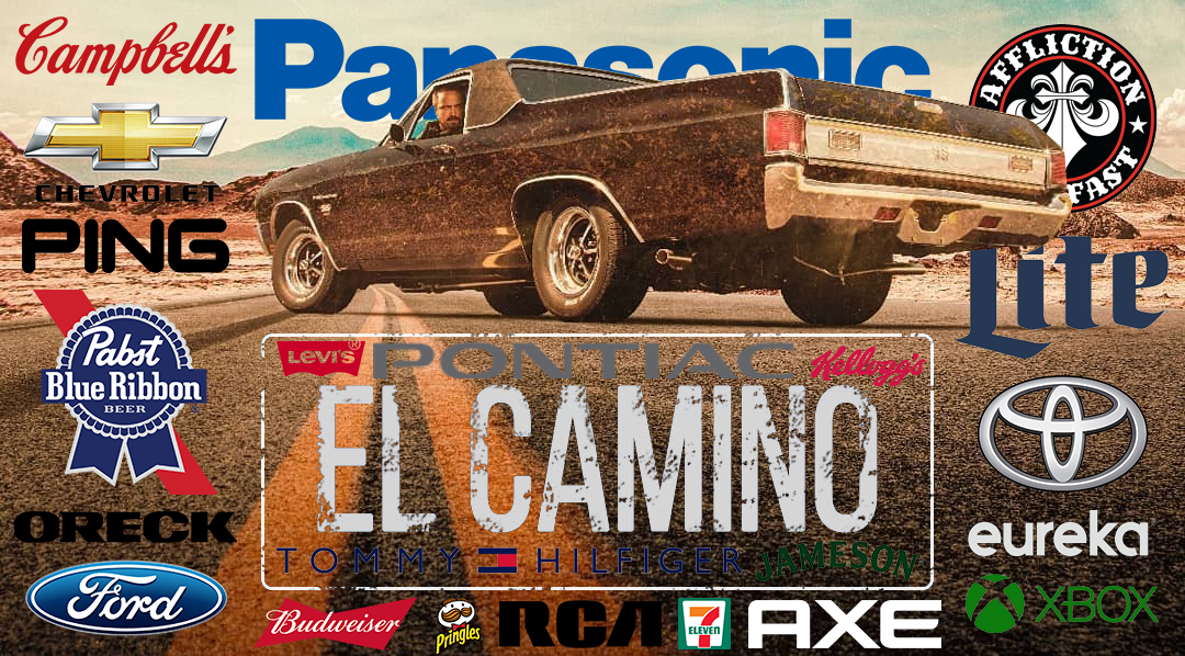 concave brand tracking el camino a breaking bad movie product placement netflix branded entertainment aaron paul jesse pinkman cambell's soup chevrolet ping pabst blue ribbon oreck ford budweiser pringles RCA 7-eleven axe xbox jameson tommy hilfiger levi's pontiac kellogg's affliction miller lite toyota eureka