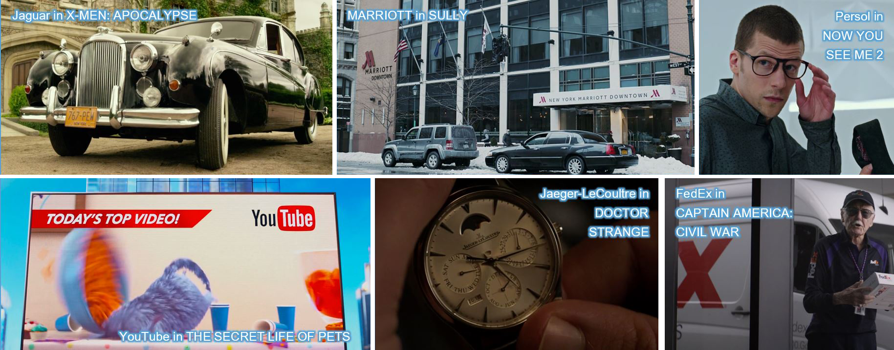 Jaguar in X-MEN: APOCALYPSE MARRIOTT in SULLY Persol in NOW YOU SEE ME 2 YouTube in THE SECRET LIFE OF PETS, Jaeger-LeCoultre in DOCTOR STRANGE FedEx in CAPTAIN AMERICA CIVIL WAR product placement concave brand tracking