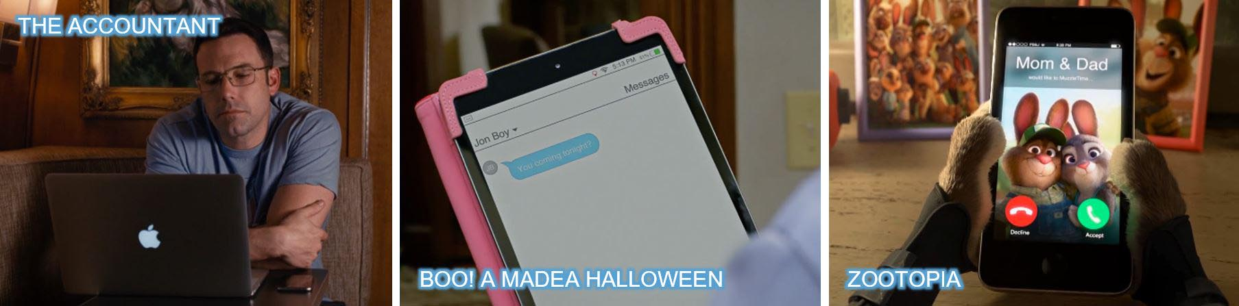 Apple laptop tablet ipad the accountant boo a madea halloween zootopia concave brand tracking 2016 top 10 Brands product placement