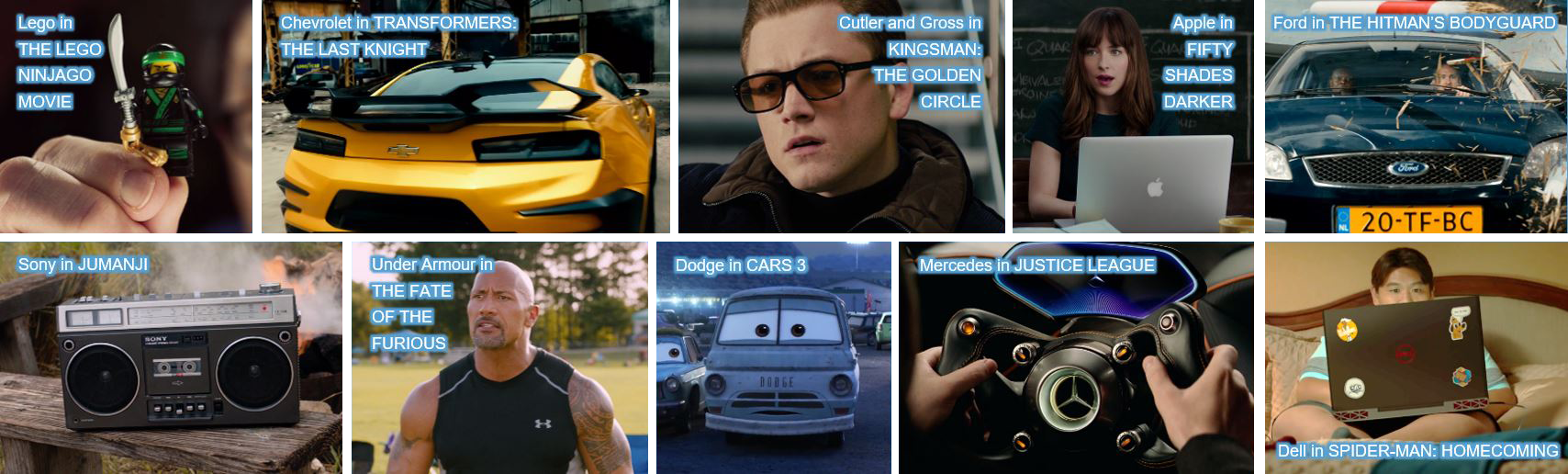 concave brand tracking product placement leog the lego ninjago movie chevrolet transformers the last knight cutler and gross kingsman the golden circle apple fifty shades of grey ford the hitman's bodyguard sony jumanji under armour the fate of the furious dodge cars 3 mercedes justice leageu dell spider man spiderman homecoming