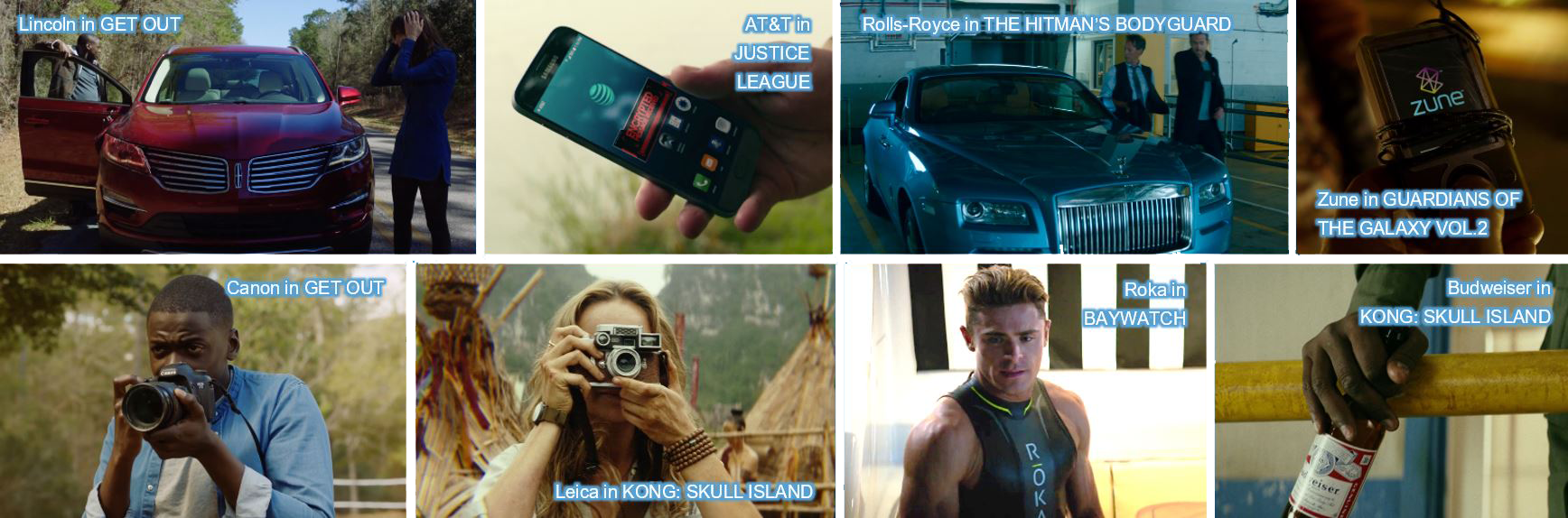 concave brand tracking product placement lincoln get out at&T justice league rolls-royce the hitman's bodyguard zune guardians of the galaxy canon get out leica camera kong skull island roka baywatch