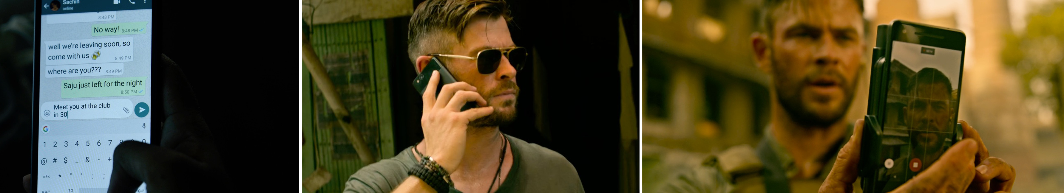 google pixel product placement mobile phone in EXTRACTION used by Chris Hemsworth