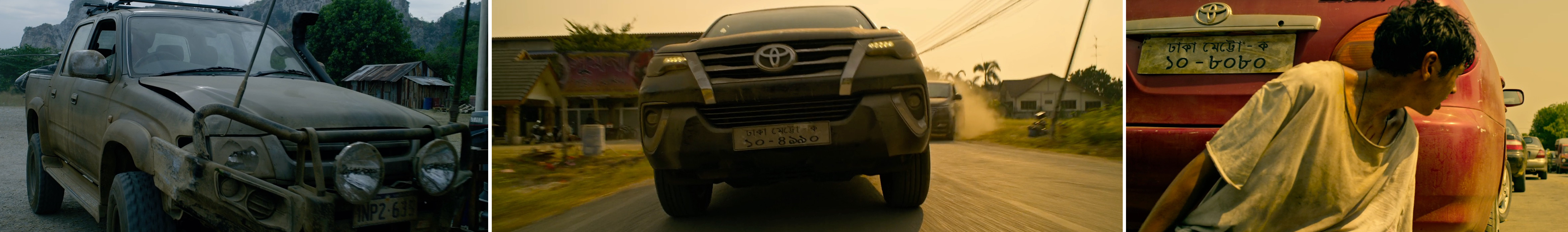 Toyota cars and trucks product placement in Extraction netflix starring Chris Hemsworth
