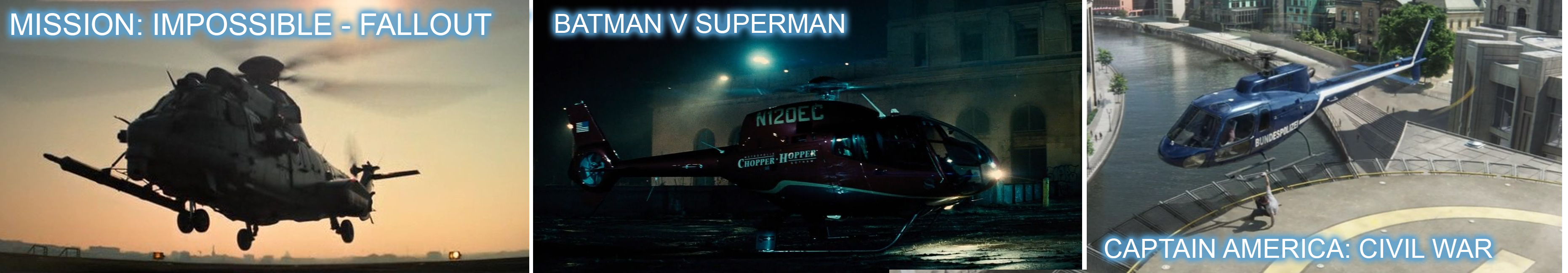 Eurocopter product placement in Mission Impossible Fallout, Batman V Superman and Captain American Civil war