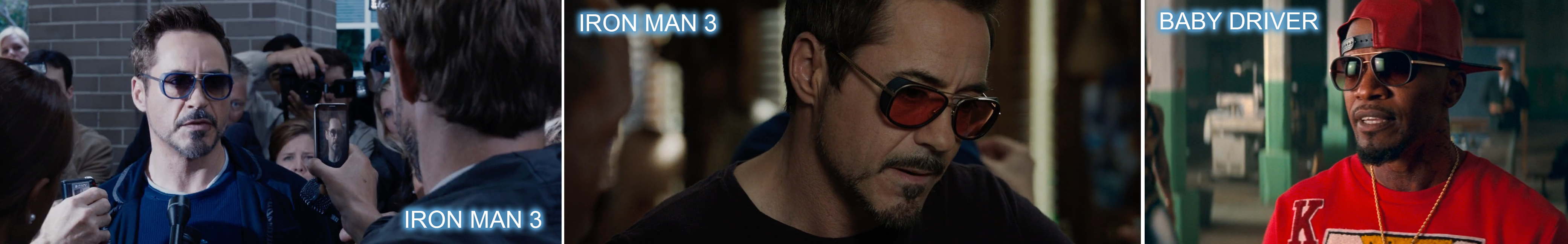 Matsuda sunglasses worn by Robert Downey Jr in Iron Man 3 and Jamie Foxx in Baby Driver