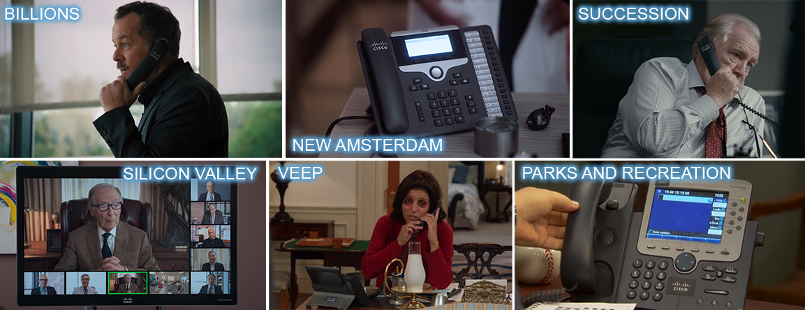 Cisco telephone product placement in BILLIONS, NEW AMSTERDAM, SUCCESSION, VEEP, SILICON VALLEY, PARKS and RECREATION