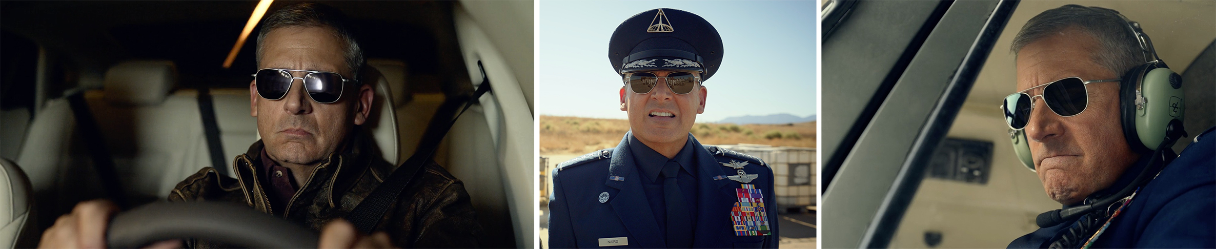 Randolph Engineering sunglasses product placement worn by Steve Carell in Netflix's SPACE FORCE