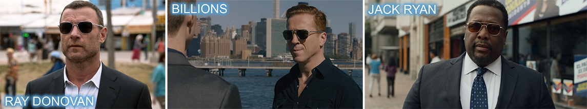 Randoph engineering product placement sunglasses worn by Liev Schreiber in RAY DONOVAN, Damian Lewis in BILLIONS and Wendell Pierce on JACK RYAN