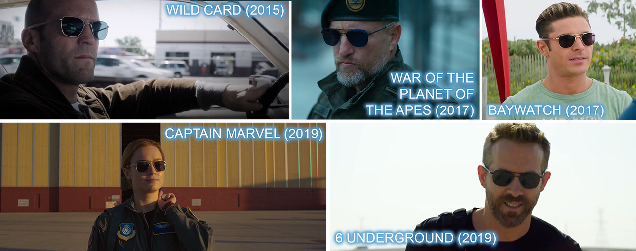 Randoph engineering product placement sunglasses worn Jason Statham in WILD CARD (2015), Woody Harrelson in WAR OF THE PLANET OF THE APES (2017), Zack Efron in BAYWATCH (2017) and most recently Brie Larson in CAPTAIN MARVEL (2019) and Ryan Reynolds in 6 UNDERGROUND (2019)