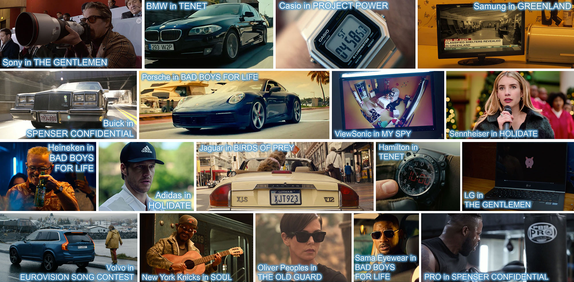 concave brand tracking product placement top 100 brands in 2020 movies top 10 entertainment marketing, Sony in the gentlemen, Porsche in Bad Boys for life, Casio in project power, Samsung TV in Greenland, Buick in Spenser confidential, BMW in Tenet, Viewsonic in my spy, Sennheiser in Holiday, Heineken in Bad boys for life, Adidas in the holidate, jaguar in birds of prey, Hamilton in Tenet, LG in The Gentlemen, Volvo in Eurovision song contest, New York Knicks cap in Soul, Oliver Peoples sunglasses in The Old Guard, Sama Eyewear in Bad boys for life