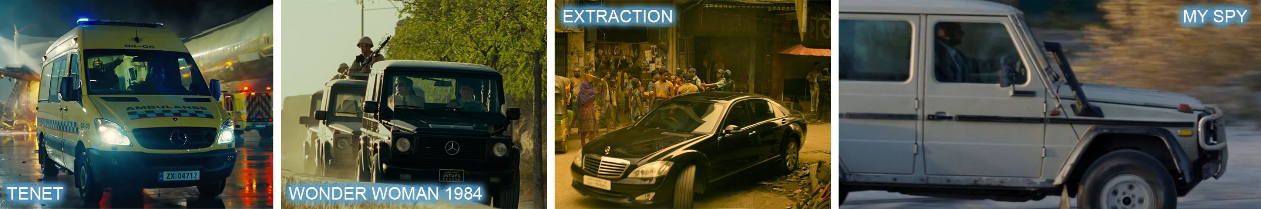 Mercedes-Benz product placement TENET, WONDER WOMAN 1984, EXTRACTION and MY SPY.