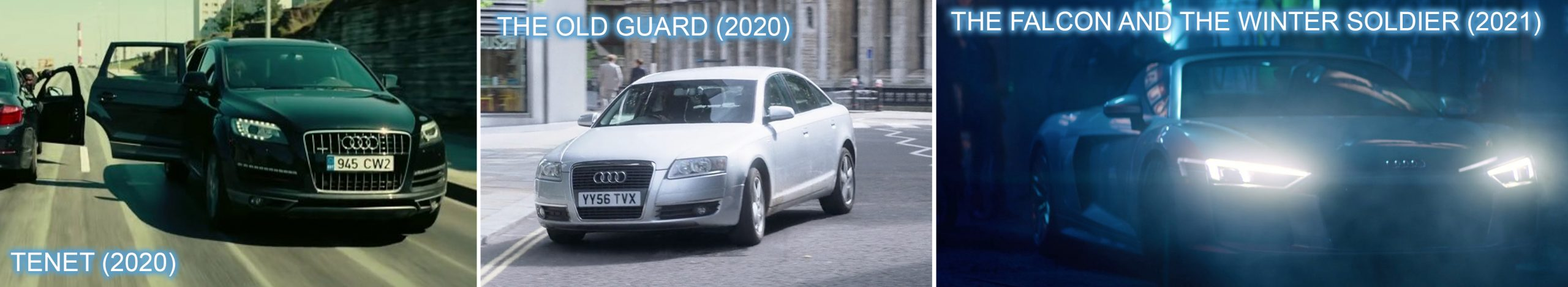 Audi product placement in TENET, THE OLD GUARD and THE FALCON AND THE WINTER SOLDIER.