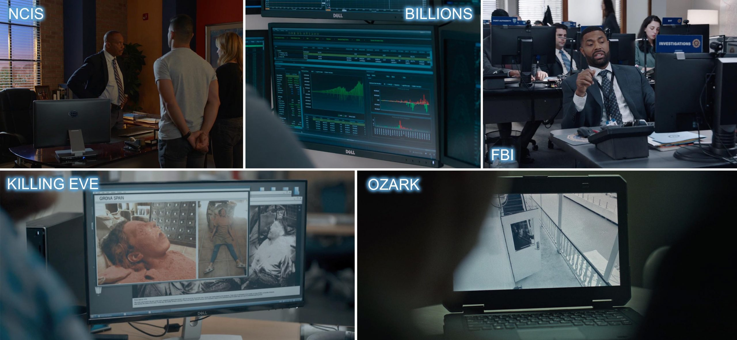 Dell product placement in NCIS, BILLIONS, FBI, KILLING EVE and OZARK.