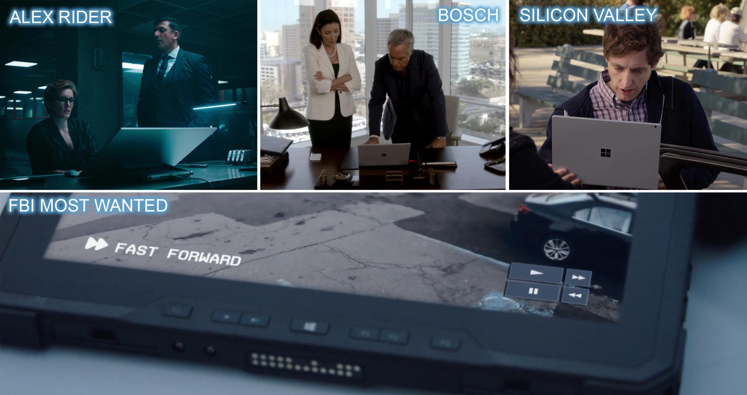 Microsoft product placement ALEX RIDER, BOSCH, SILICON VALLEY and FBI MOST WANTED