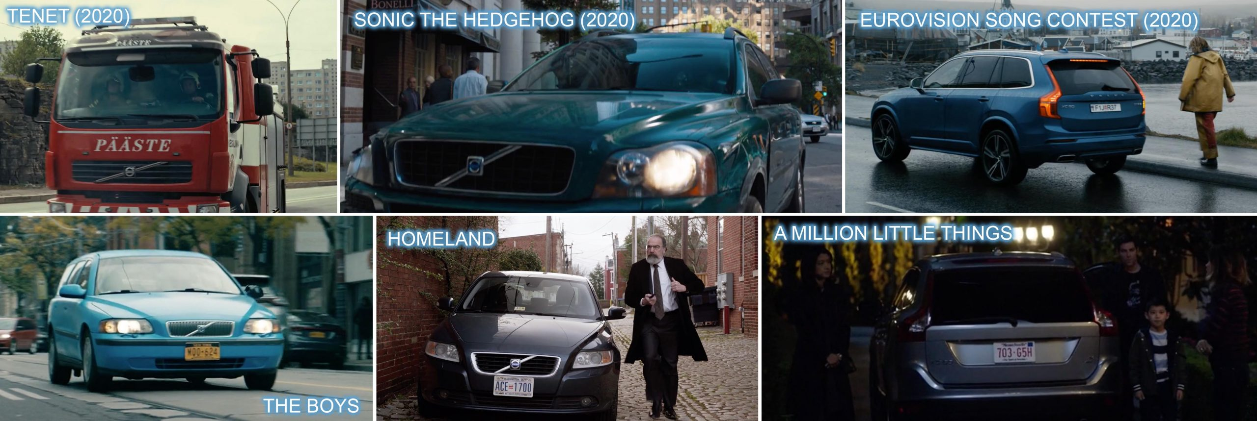 Volvo product placement in TENET, SONIC THE HEDGEHOG and EUROVISION SONG CONTEST, THE BOYS, HOMELAND and A MILLION LITTLE THINGS.